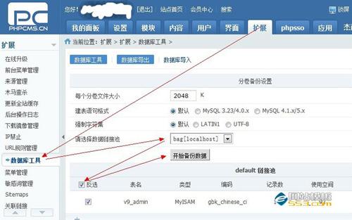 phpcms v9数据库导入